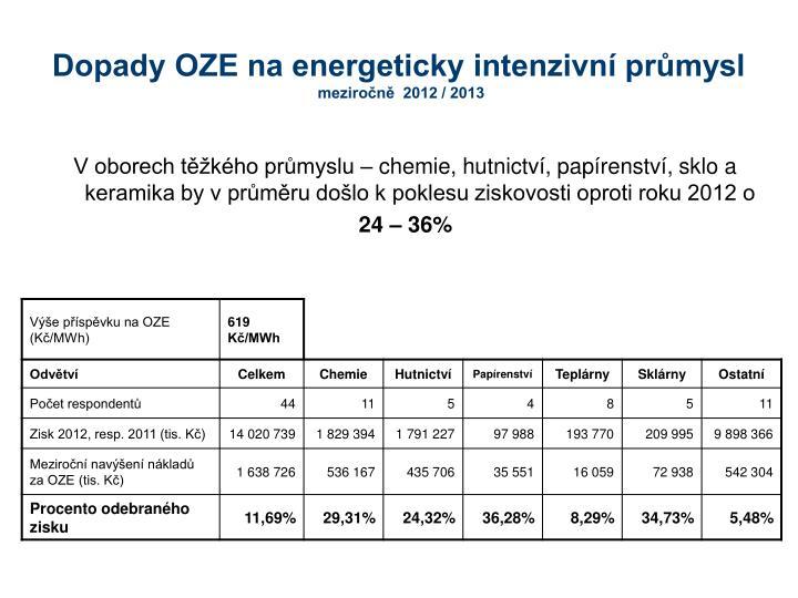 Dopady OZE na energeticky intenzivní průmysl