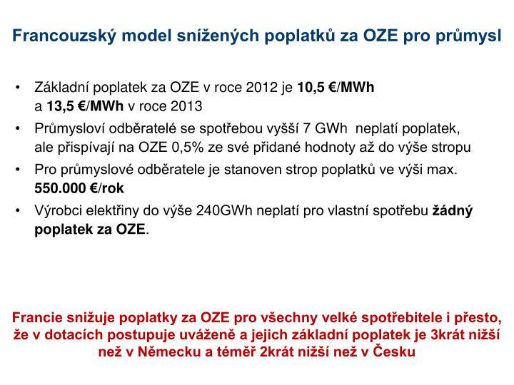 Francouzský model snížených poplatků za OZE pro průmysl