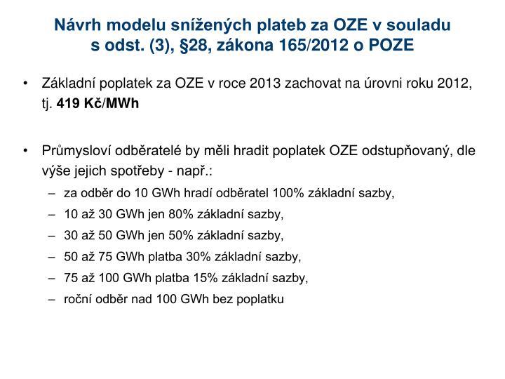 Návrh modelu snížených plateb za OZE v souladu                    s odst. (3), §28, zákona 165/2012 o POZE