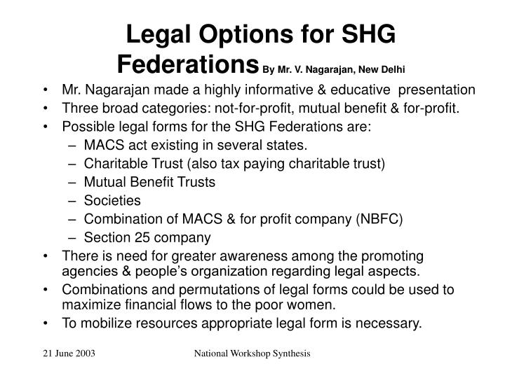 Legal Options for SHG Federations