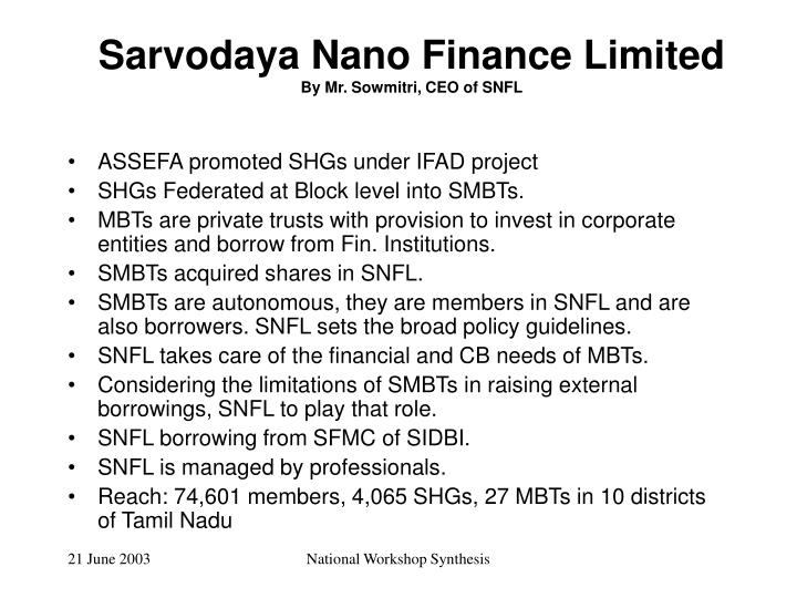 Sarvodaya Nano Finance Limited