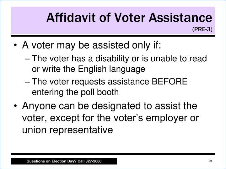 Affidavit of Voter Assistance