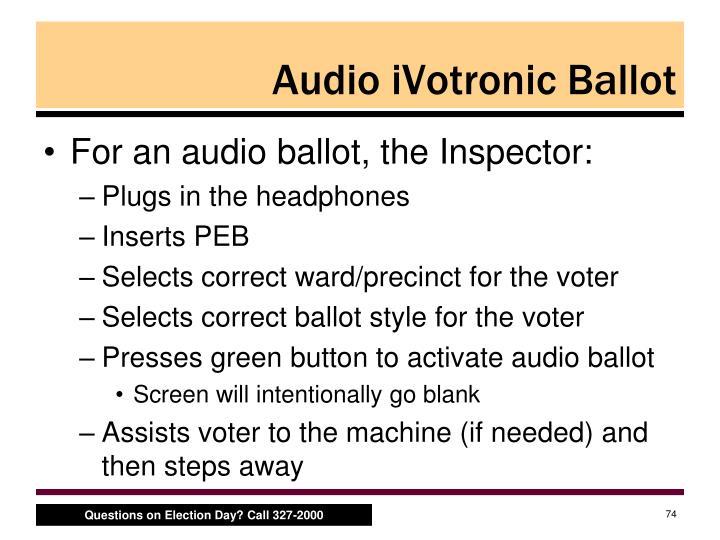 Audio iVotronic Ballot
