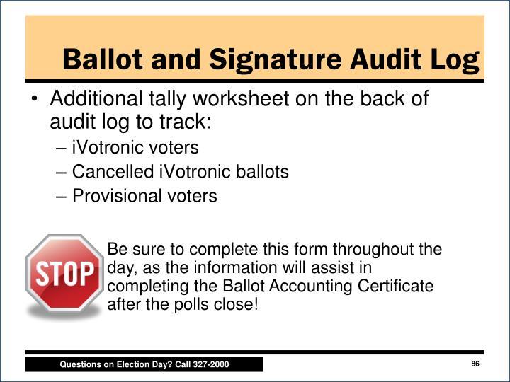 Ballot and Signature Audit Log