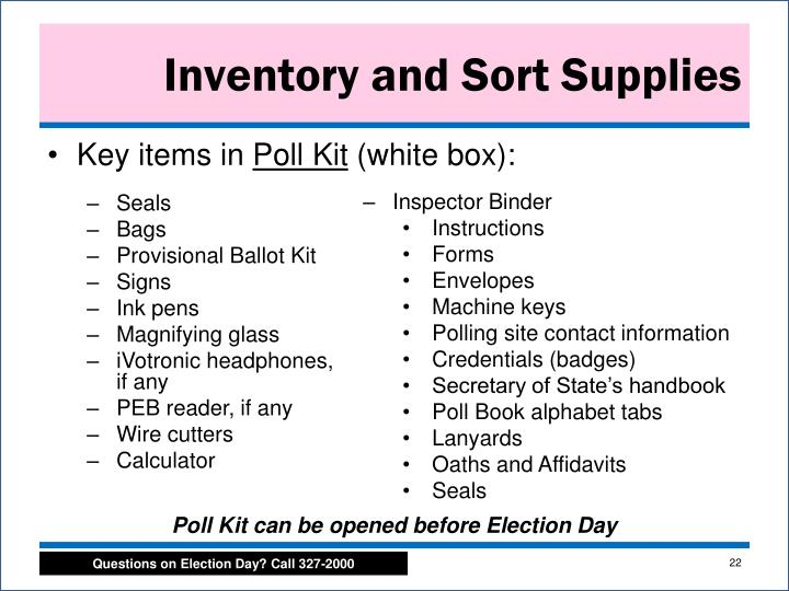 Inventory and Sort Supplies