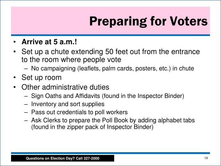 Preparing for Voters