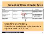 selecting correct ballot style1