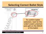 selecting correct ballot style5
