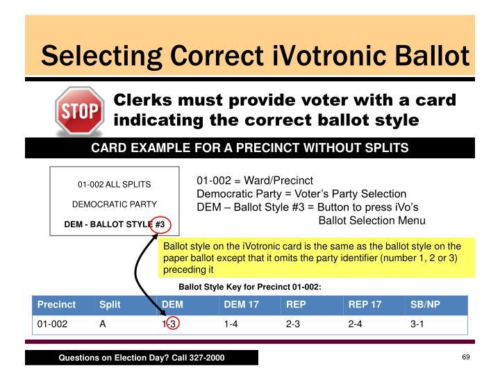 Selecting Correct iVotronic Ballot