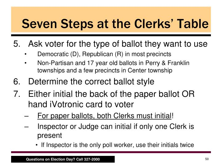 Seven Steps at the Clerks' Table