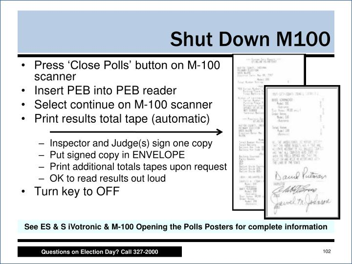 Press 'Close Polls' button on M-100