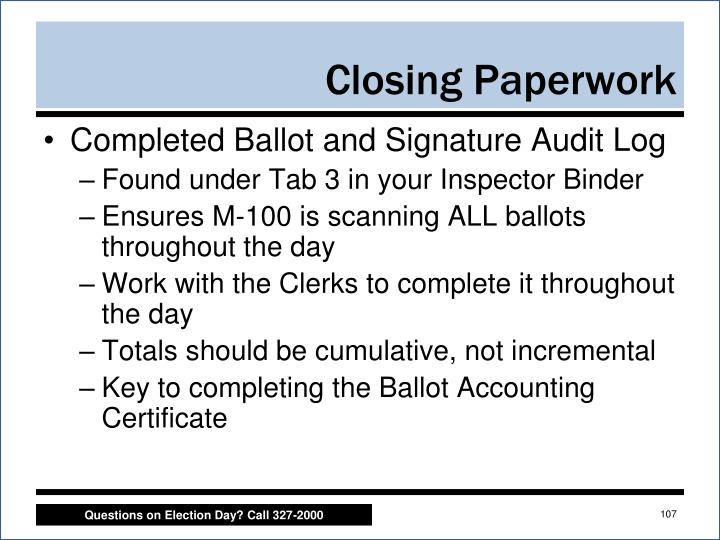 Completed Ballot and Signature Audit Log