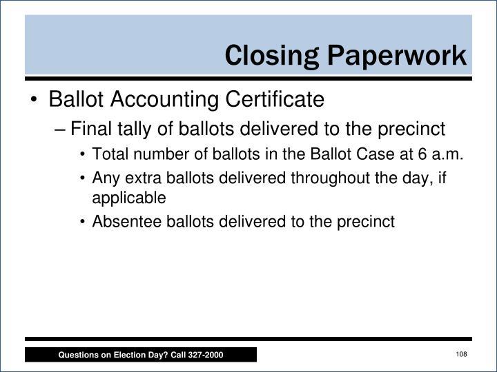 Ballot Accounting Certificate