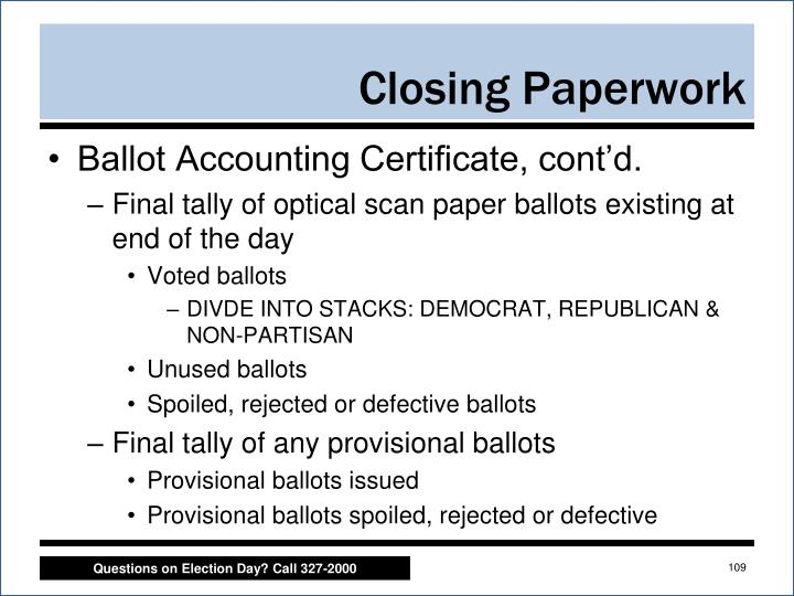 Ballot Accounting Certificate, cont'd.