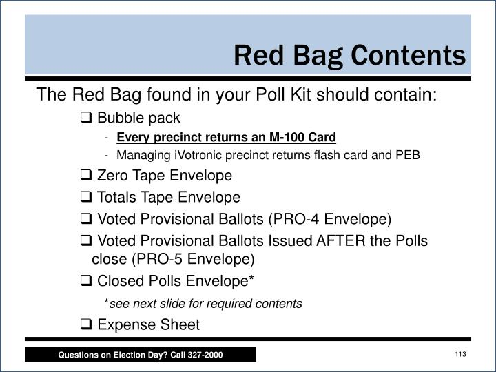 Red Bag Contents
