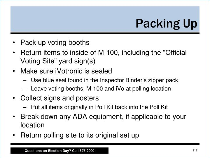 Pack up voting booths