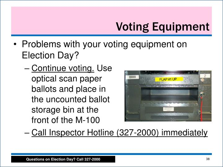 Problems with your voting equipment on Election Day?
