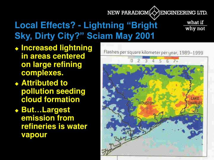 "Local Effects? - Lightning ""Bright Sky, Dirty City?"" Sciam May 2001"