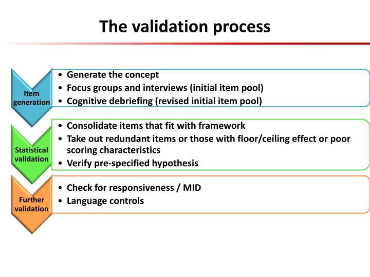 The validation process