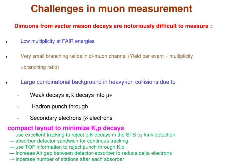 Challenges in muon measurement