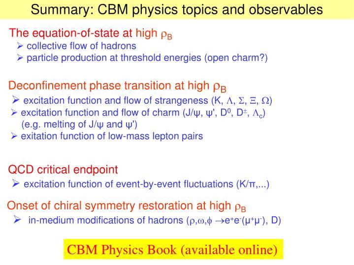 Summary: CBM physics topics and observables