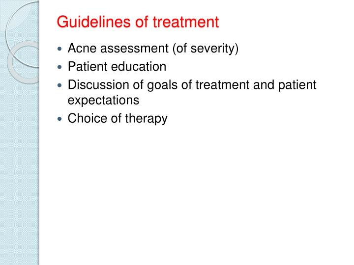 Guidelines of treatment