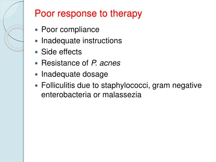Poor response to therapy