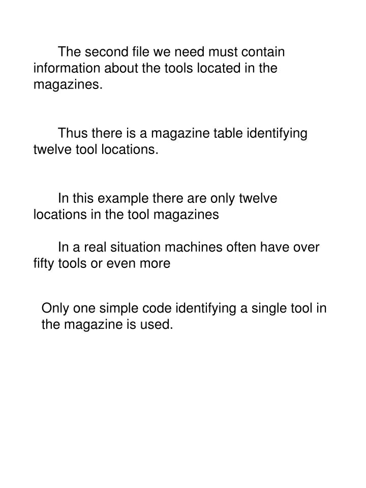 The second file we need must contain information about the tools located in the magazines.