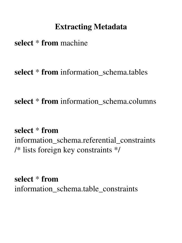 Extracting Metadata