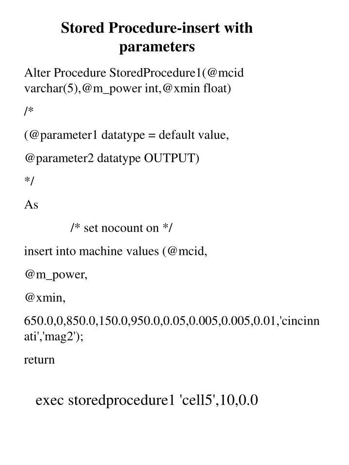 Stored Procedure-insert with parameters