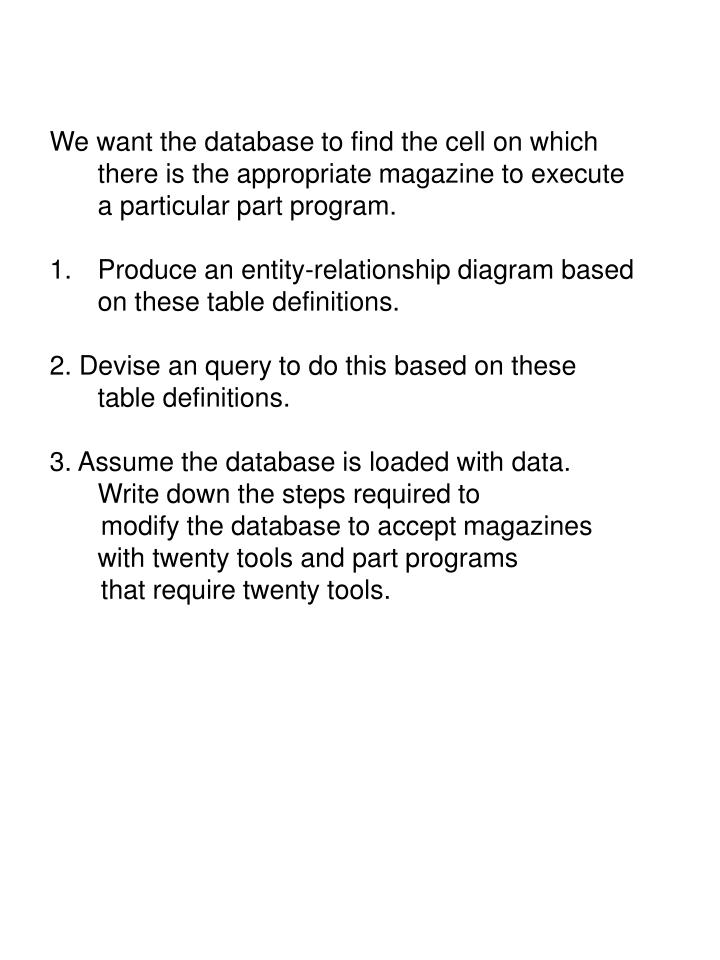 We want the database to find the cell on which there is the appropriate magazine to execute a particular part program.