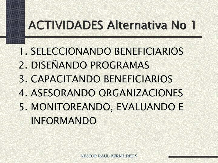 ACTIVIDADES Alternativa No 1