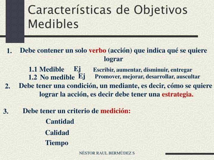 Características de Objetivos Medibles