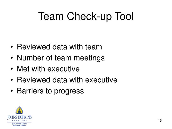 Team Check-up Tool