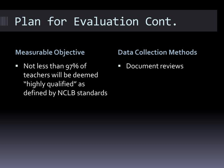 Plan for Evaluation Cont.