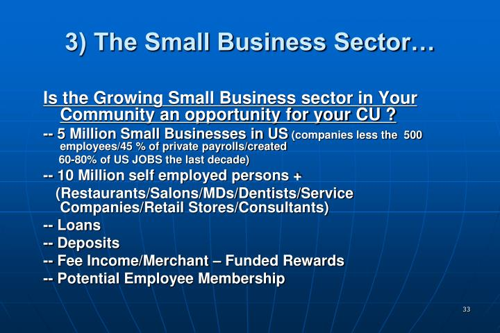 3) The Small Business Sector…