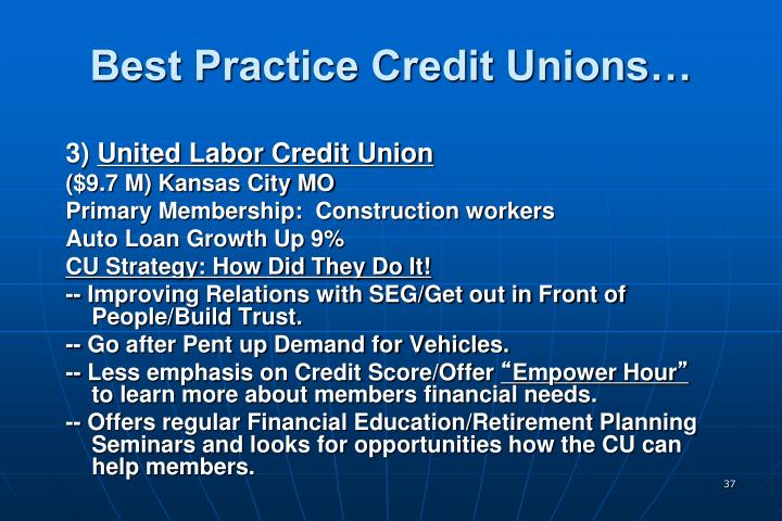 Best Practice Credit Unions…