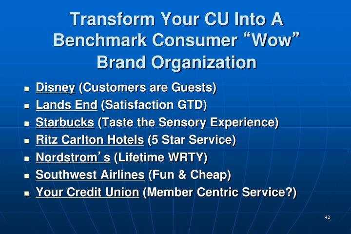 Transform Your CU Into A Benchmark Consumer