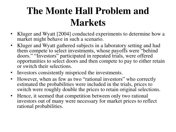 The Monte Hall Problem and Markets