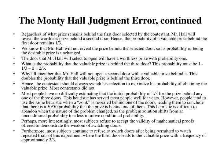 The Monty Hall Judgment Error, continued