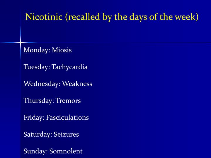 Nicotinic (recalled by the days of the week)