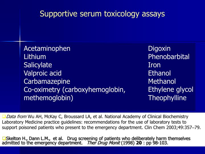 Supportive serum toxicology assays