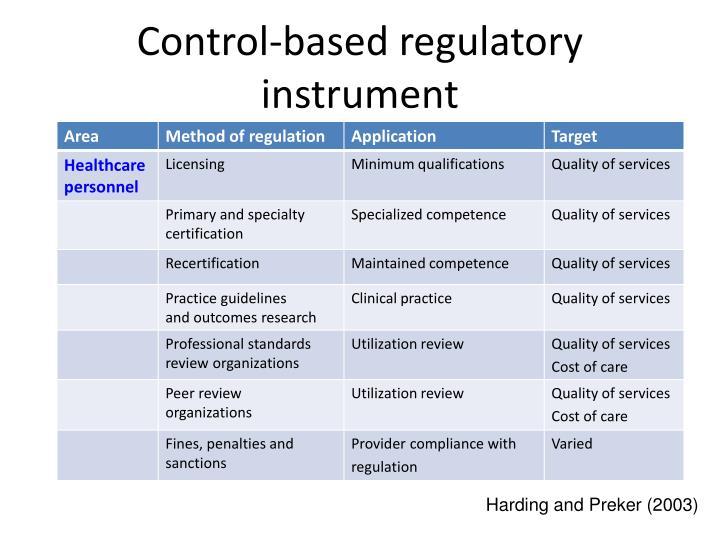 Control-based regulatory instrument