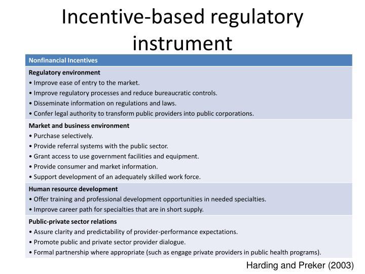 Incentive-based regulatory instrument