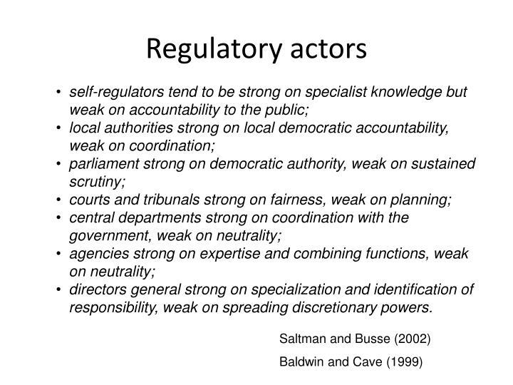 Regulatory actors