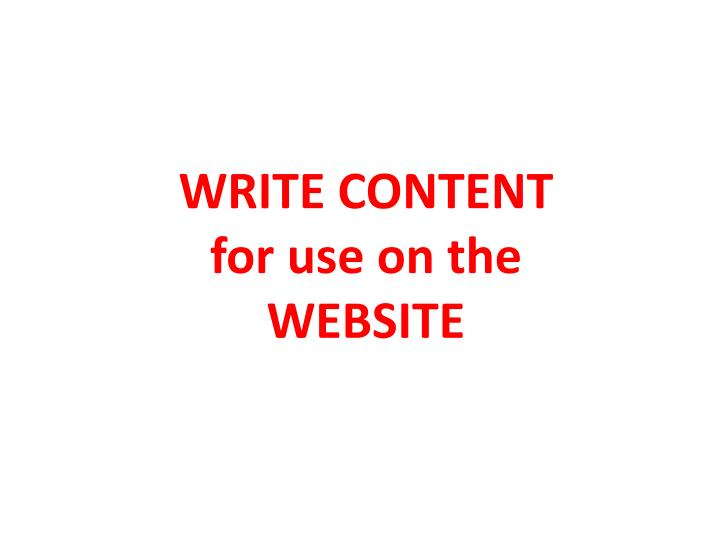 Write content for use on the website