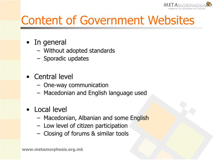 Content of Government Websites