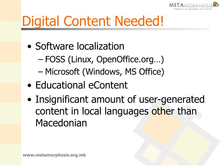 Digital Content Needed!