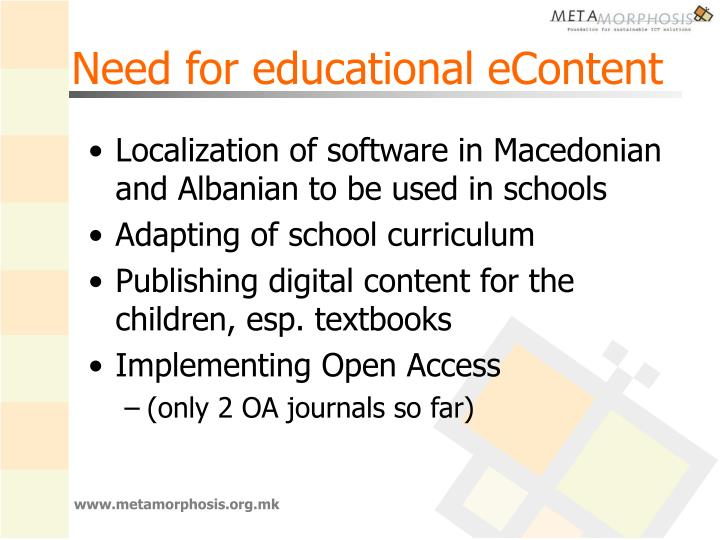 Need for educational eContent