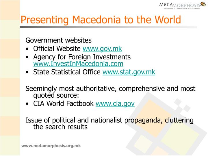 Presenting Macedonia to the World
